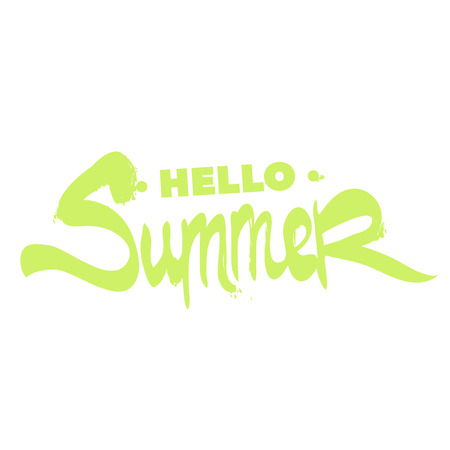 Beautiful inscription Hello summer on a white background