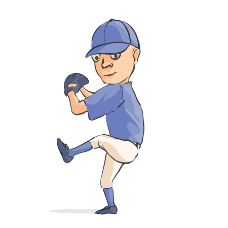 Funny cartoon baseball player on white