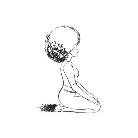 The girl meditates and does yoga
