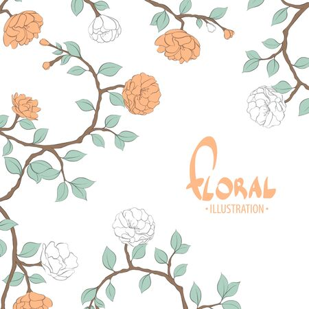 Delicate painted flowers vector