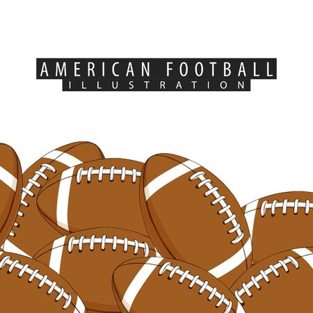 Balls for american football close-up on a white background Ilustrace
