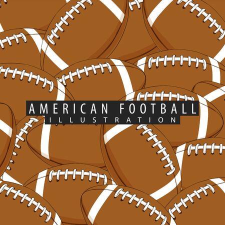 Balls for American football close-ups Illustration