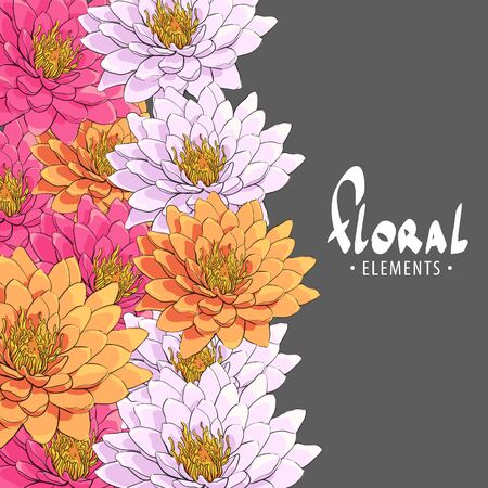 Bright chrysanthemums on a dark background with a place for your inscription