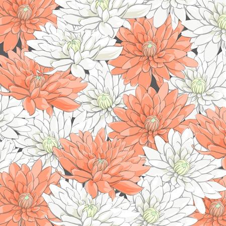 Fondo de delicados crisantemos blanco y naranja Ilustración de vector