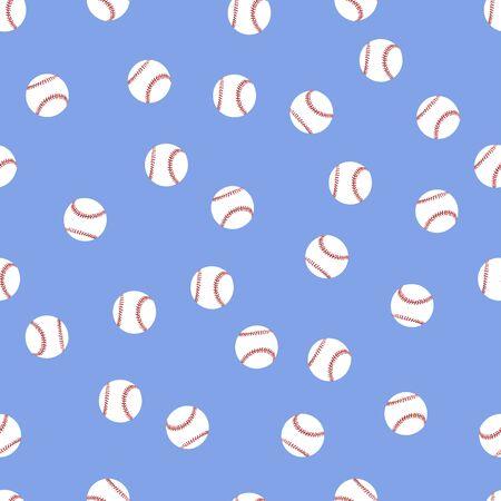 A lot of baseball balls on a blue background seamless Illustration