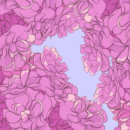 hermoso fondo de delicadas flores rosadas en un cielo lila Ilustración de vector