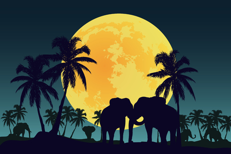 Elephants on a background of palm trees and a big moon Illustration