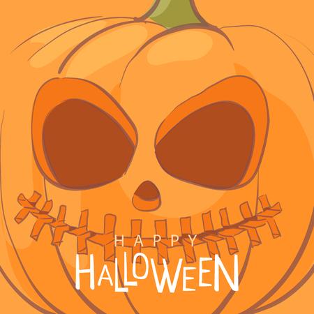 Bright orange Halloween postcard with pumpkin