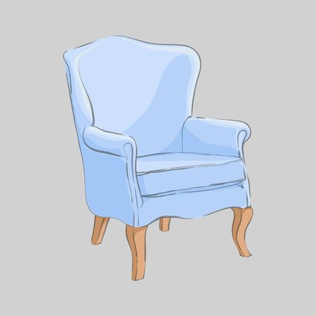 Designer chair for a refined interior with a blue upholstery