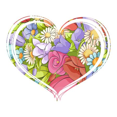 Bright floral heart on a white background of bright colors