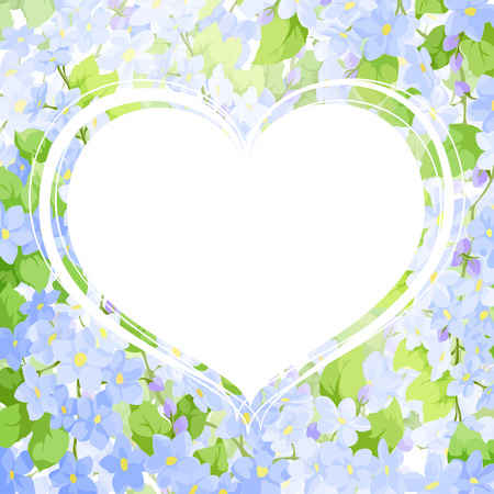 background of blue flowers with a white heart for congratulations Illustration