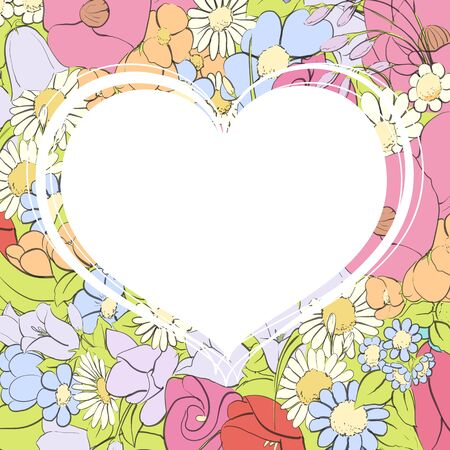 Background of flowers and a white heart with a place for congratulations