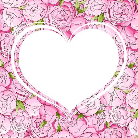 あなたの愛する人のためのお祝いの言葉を書くことができますホワイト ハートとピンクの牡丹の背景