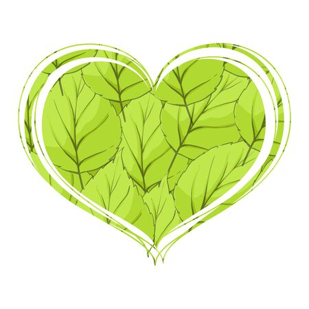 Bright foliage in the form of heart on a white background