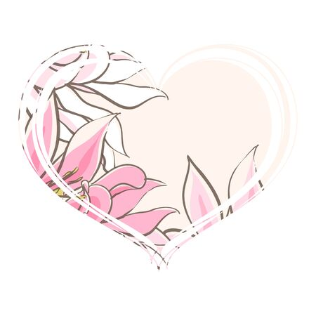 Delicate pink flowers in the heart on a white background