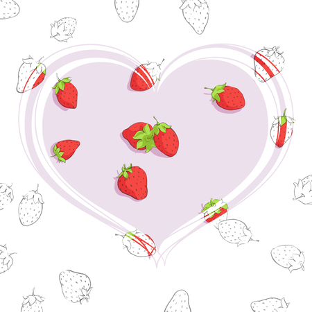 Gently pink heart with strawberries on a design background