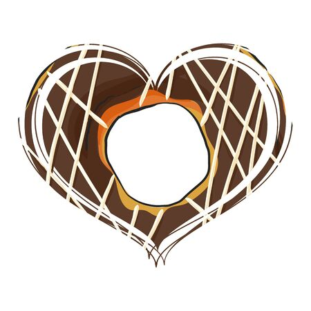Chocolate donut in the form of heart on a white background