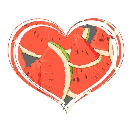 Favorite watermelon inside the heart