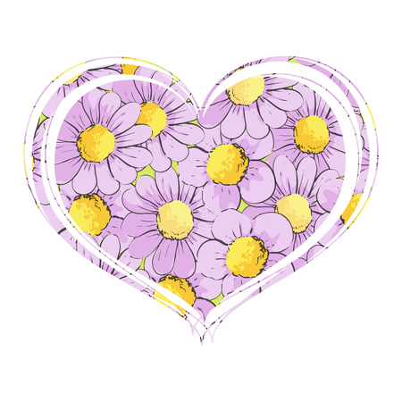 Purple chamomile flowers in the form of heart on a white background