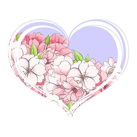 Delicado corazón de flores de cerezo sobre un fondo blanco