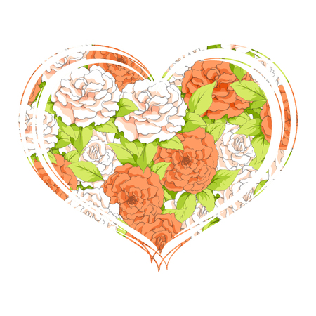 Heart of carnations on a white background