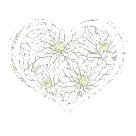 Tender heart from white chrysanthemums on a white background