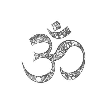 Beautiful omkara sign with pattern in black and white colors. Illustration