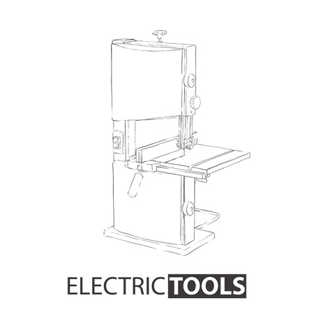 Band saw machine drawn with a contour on a white background for instructions or a poster.