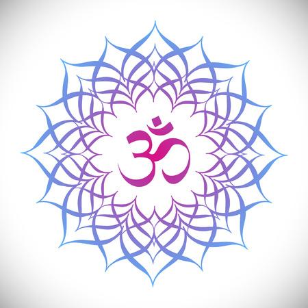 Colorful Mandala with omkara sign inside vector illustration