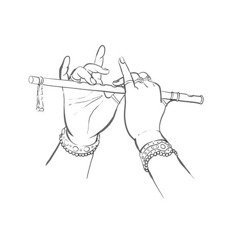 Divine hands of Krishna with flute in sketch outline style vector illustration