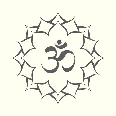 Black and white mandala with omkara sign inside vector illustration