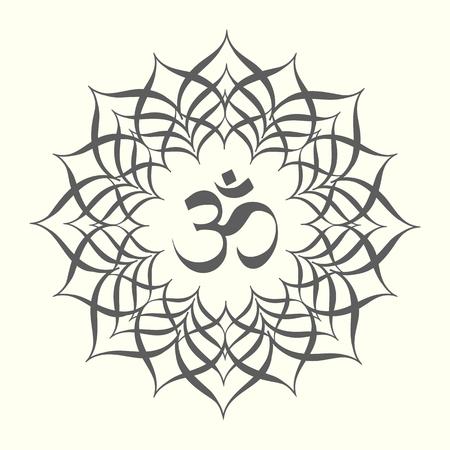Black and white mandala with omkara sign inside, vector illustration.