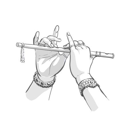 Divine hands of Krishna with flute vector illustration