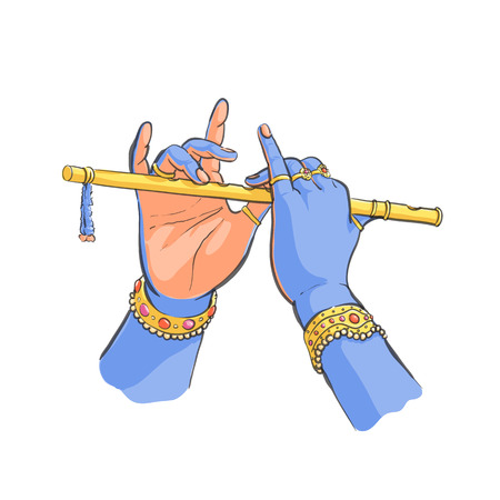 Divine hands of Krishna with flute colored vector illustration