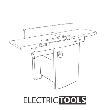 Hand drawn woodworking joiner on white background