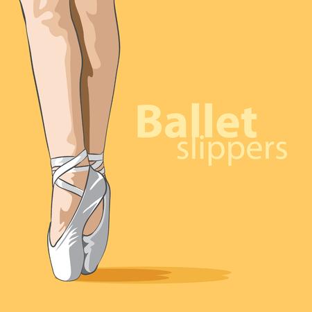 lovely female legs in ballet slippers Vector illustration.