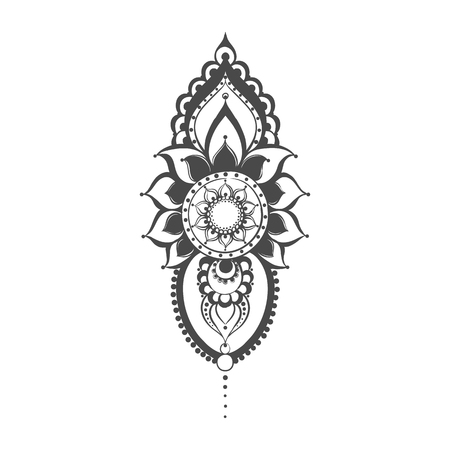Vector henna black mehndi illustration on white background.