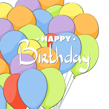 Birthday card with bright ballons on white Ilustração