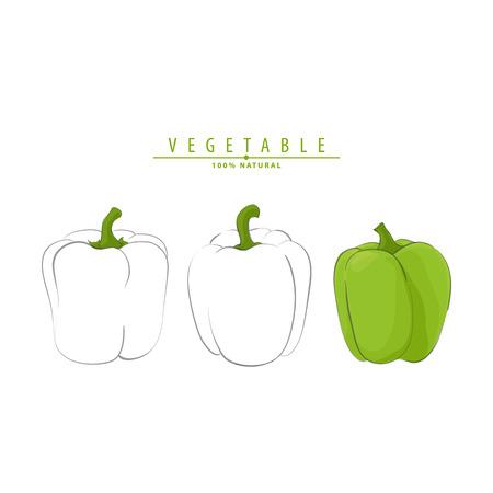 Vector illustration of fresh ripe peppers on white background