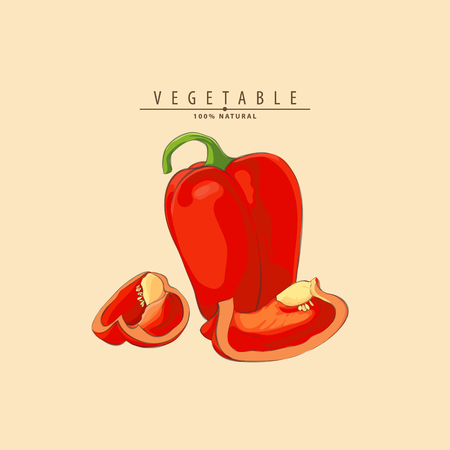 Vector illustration of fresh ripe peppers on light background Illustration
