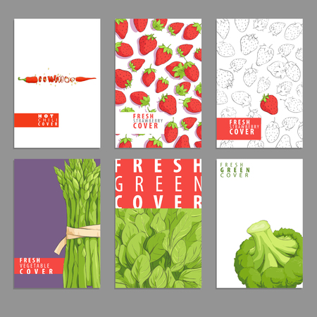 Set of bright brochures with vegetables and fruits