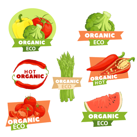 Bright tastry set of logos with vegetables and fruits