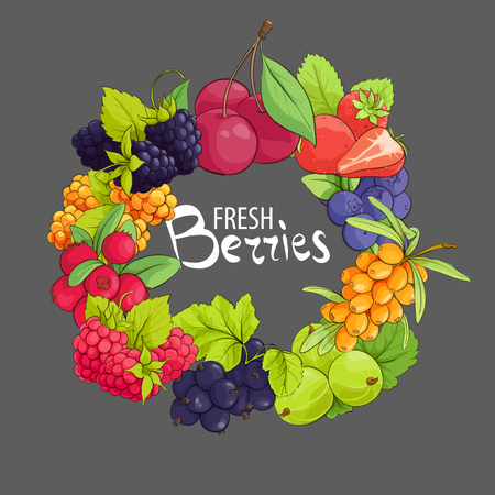 Sweet vector circle berry frame on gray background