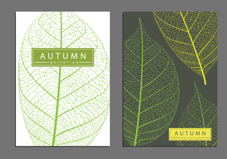 Autumn cover templates with detailed skeleton leaves