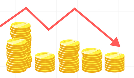 infographic design with stacks of money and chart Illustration