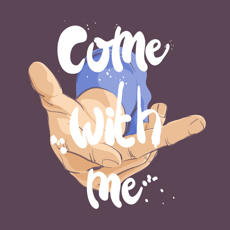 vector illustration of hand gesture come with me Vettoriali