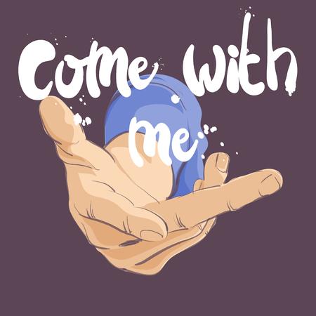 ilustración vectorial de gesto de la mano ven conmigo