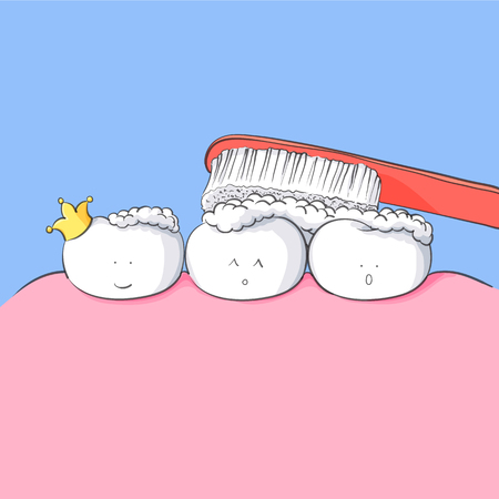 tooth care concept vector illustration with tooth and toothbrush