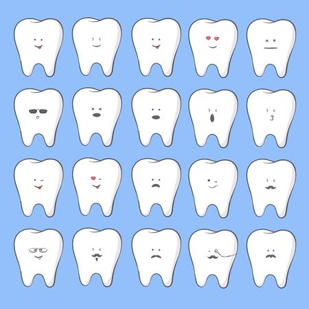 White tooth vector illustration of emoji set