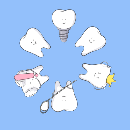 White tooth vector illustration on blue background